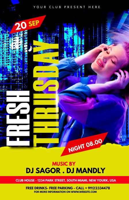 Night club Party Flyer Kalahating pahina na Wide template