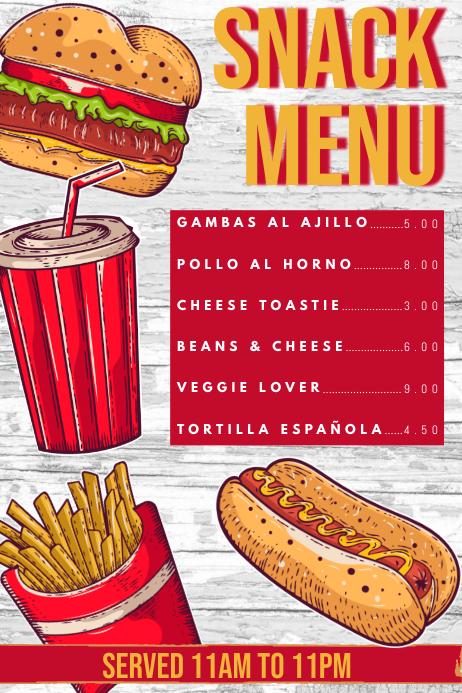 Snack Menu Design Template Poster