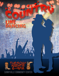 country line dancing lessons flyer te Pamflet (Letter AS) template