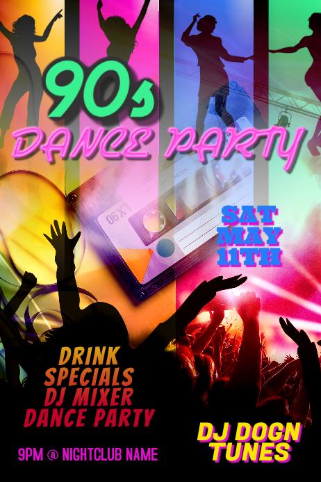 Dance Party DJ Club Poster Template Plakkaat