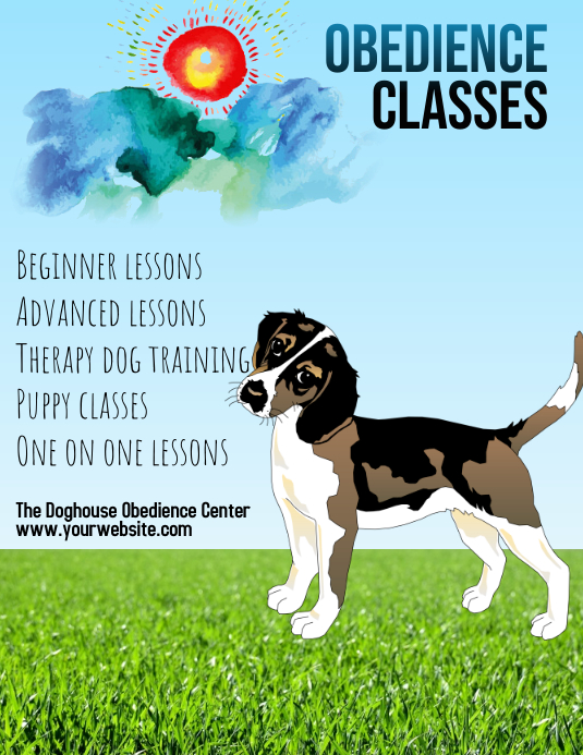 Dog Training Obedience Classes Flyer Template Postermywall