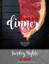 Editable Prime Rib Dinner flyer templ Рекламная листовка (US Letter) template