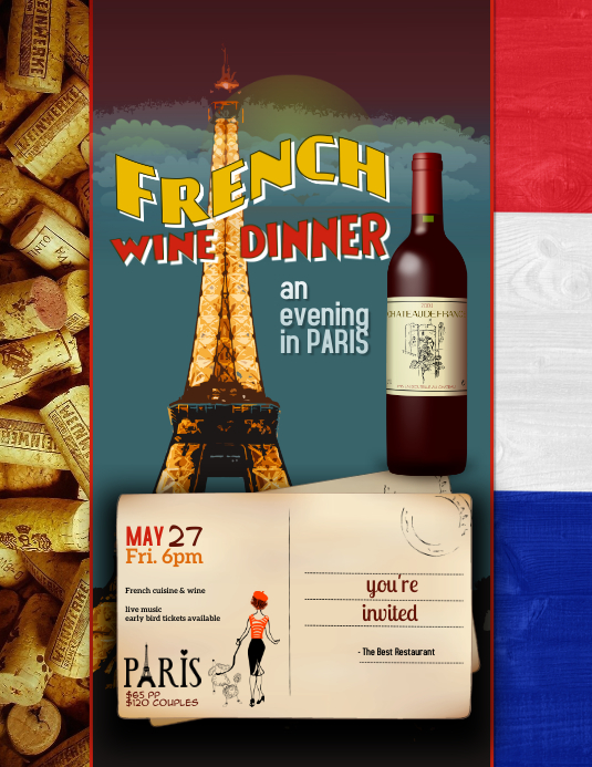 Evening in Paris Event Flyer Template Pamflet (Letter AS)