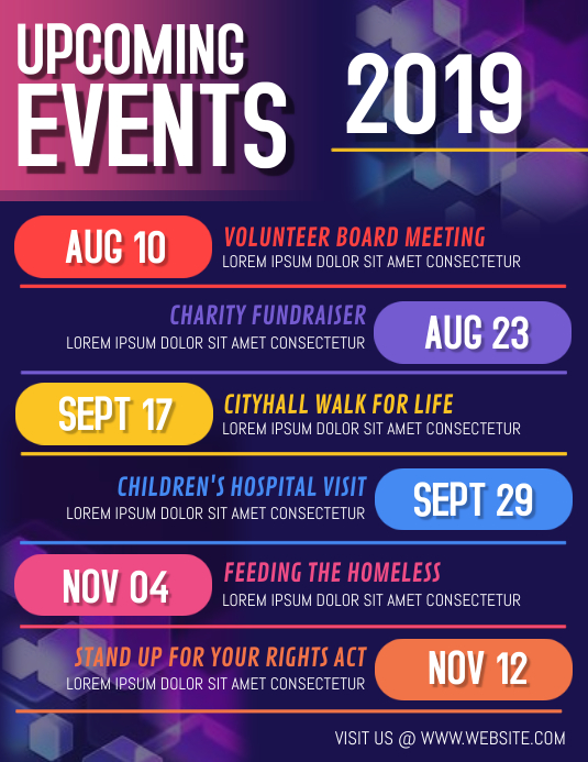 Event calendar Pamflet (Letter AS) template