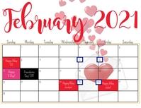 FEBURARY 2021 calendar Flyer (format US Letter) template