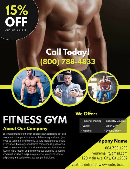 Fitness Pamflet (Letter AS) template