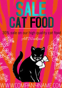 flyers template poster sale cat food A4
