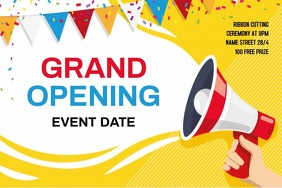 Grand opening flyer Spanduk 4' × 6' template