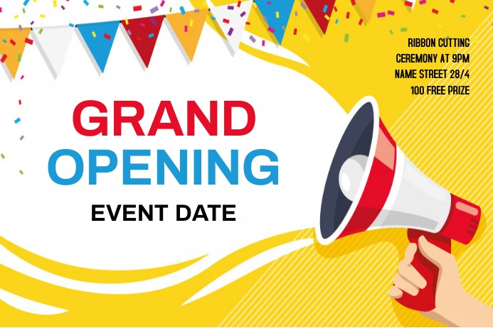 Grand opening flyer Spanduk 4' × 6' template