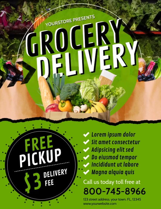 GROCERY DELIVERY Volante (Carta US) template