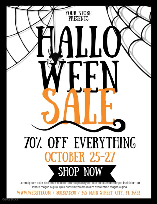 Halloween Sale Рекламная листовка (US Letter) template