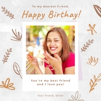 Happy birthday instagram post greeting card