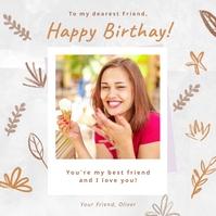 Happy birthday instagram post greeting card