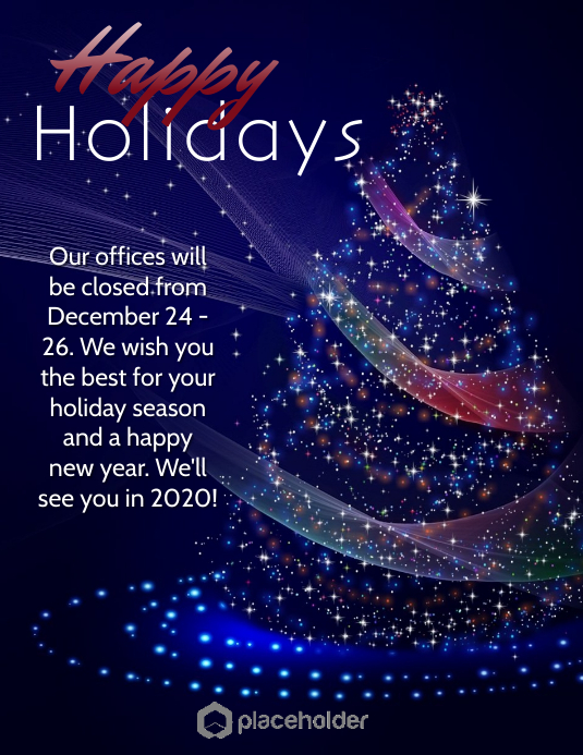 Copy of Holiday Office Closure - Blue Tree