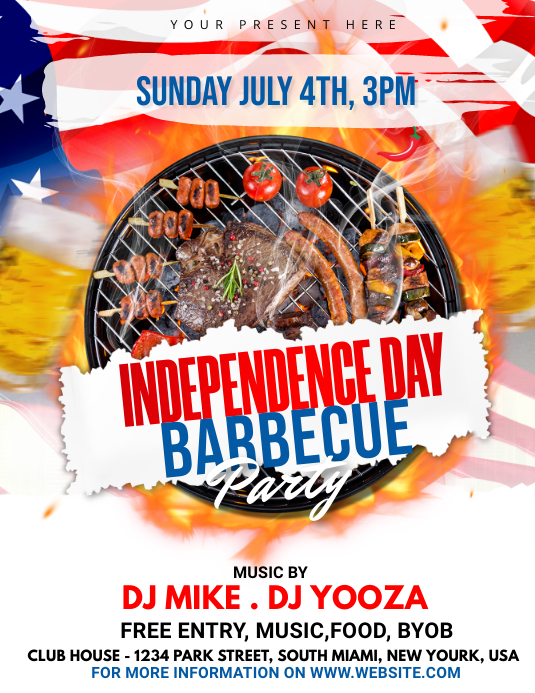 Independence Day BBQ Party 传单(美国信函) template