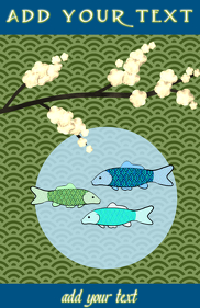 Copy of Japanese blue sea pattern and koi gold fish & flower