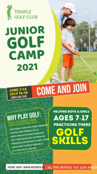 Junior Golf Camp Flyer เรื่องราวบน Instagram template