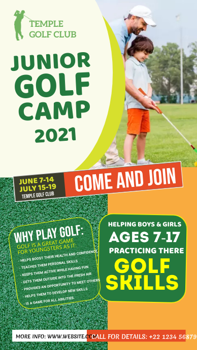 Junior Golf Camp Flyer Instagram Story template