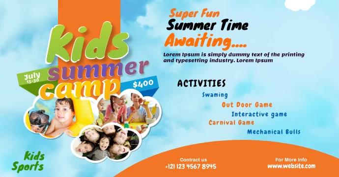 Kids Summer Camp Flyer Gambar Bersama Facebook template
