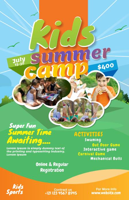 Kids Summer Camp Flyer ความกว้างแบบครึ่งหน้า template
