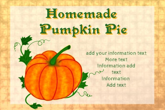 label for pumpkin pie or simmilar