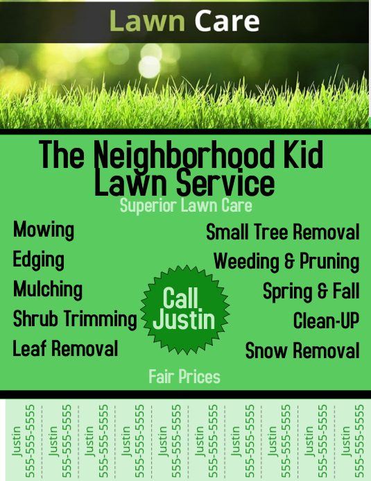 Copy of Lawn Care with Tear-Off