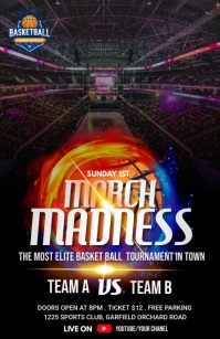 March Madness - Basketball Flyer Temp Half Page Wide template