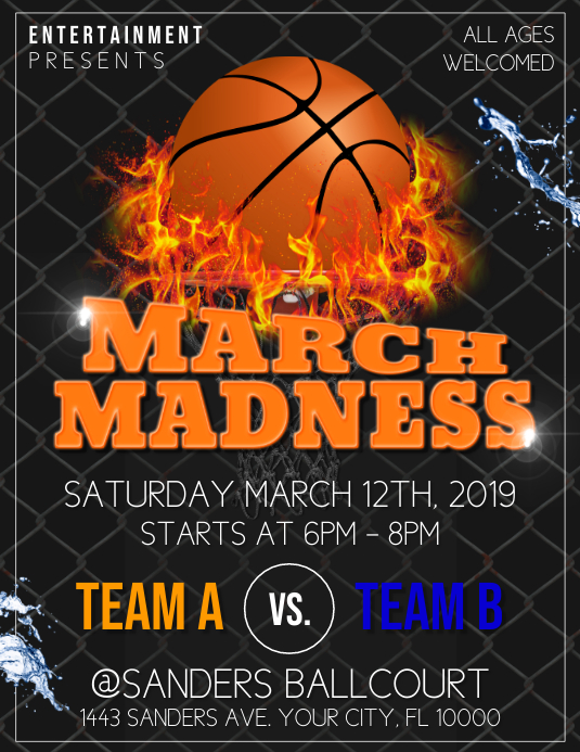 March Madness Pamflet (Letter AS) template