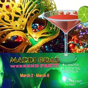 mardi gras carnival flyer poster Digital Video Square (1:1) template