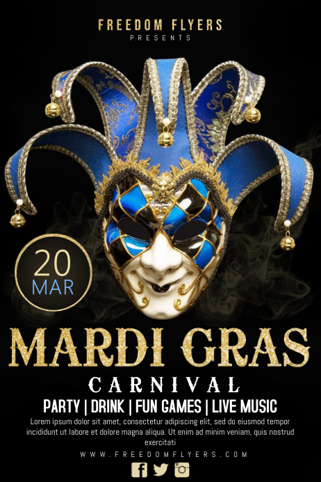 Copy of Mardi Gras Carnival Poster Template