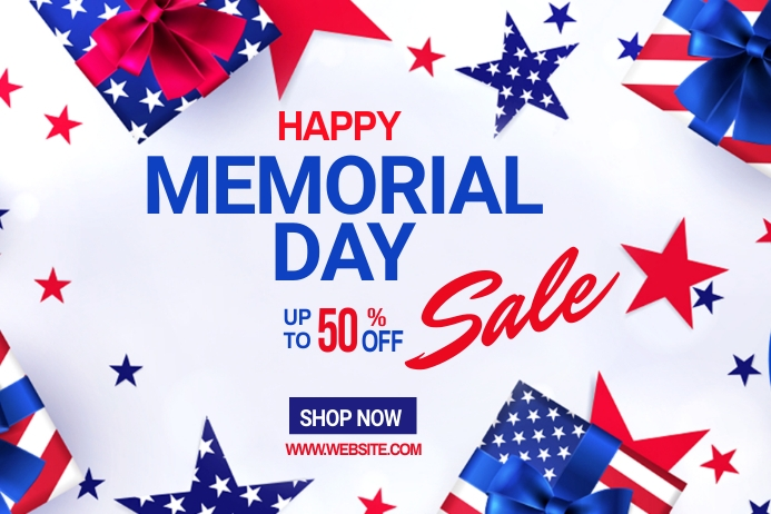 Memorial Day discount ads Banner 4 x 6 fod template