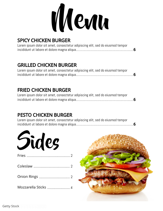 menu Løbeseddel (US Letter) template