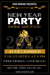 NEW YEAR PARTY Cartaz template