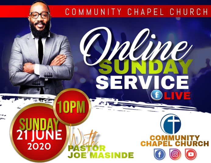 ONLINE CHURCH SERVICE Flyer (Letter pang-US) template
