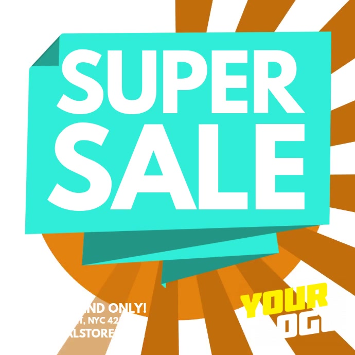 Blue Origami Bubble Super Sale Ad Square (1:1) template