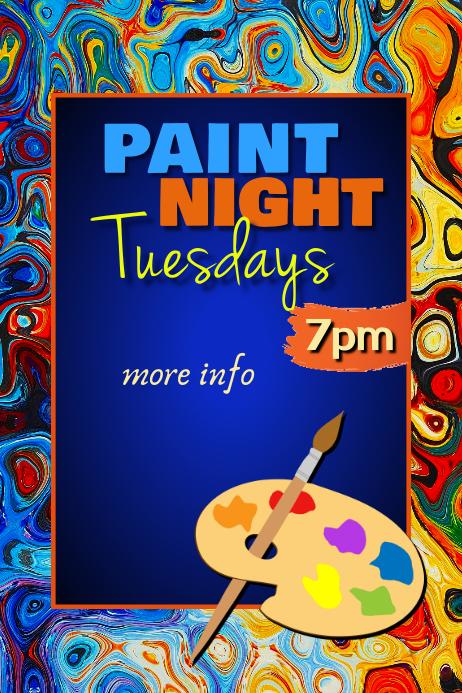 Paint Night Poster Cartaz template