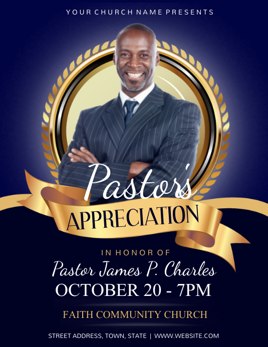 Pastor's Appreciation Flyer (US-Letter) template