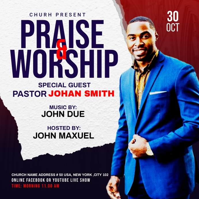 Praise & Worship template Post Instagram