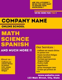 Purple and yellow online school flyer template