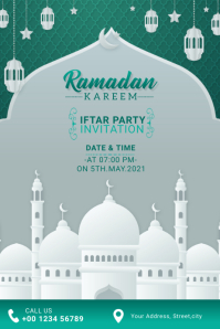 Ramadan Kareem Iftar Party Invitation Banner 4' × 6' template