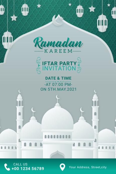 Ramadan Kareem Iftar Party Invitation Cartel de 4 × 6 pulg. template