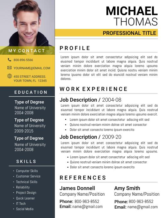 Resume Flyer (format US Letter) template