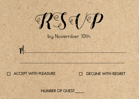 Copy of Rustic kraft wedding RSVP card 2