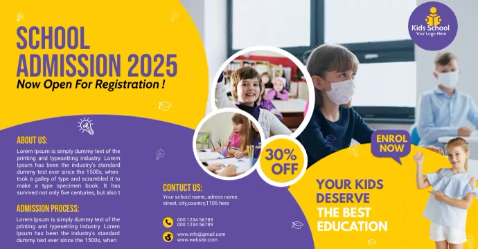 School Admission flyer Template Reklama na Facebooka