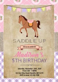 Copy of Shabby chic horse birthday invitation