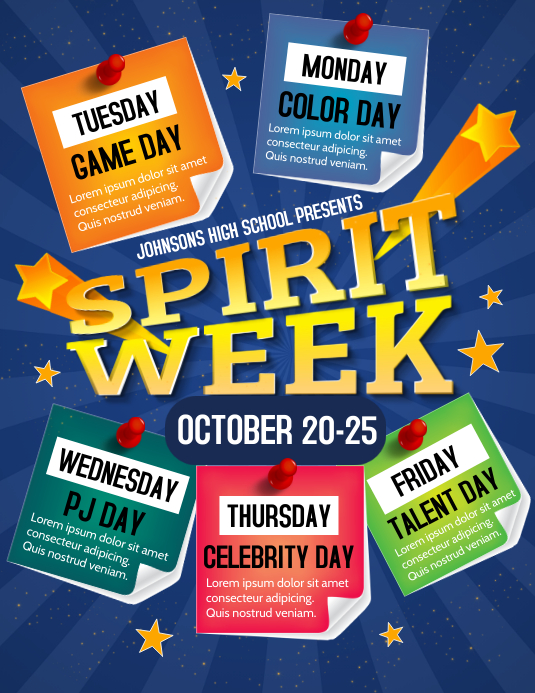 Spirit Week Volante (Carta US) template