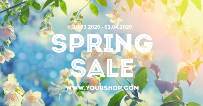 Promotion Spring Sale Store Online Shop Flower delt Facebook-billede template