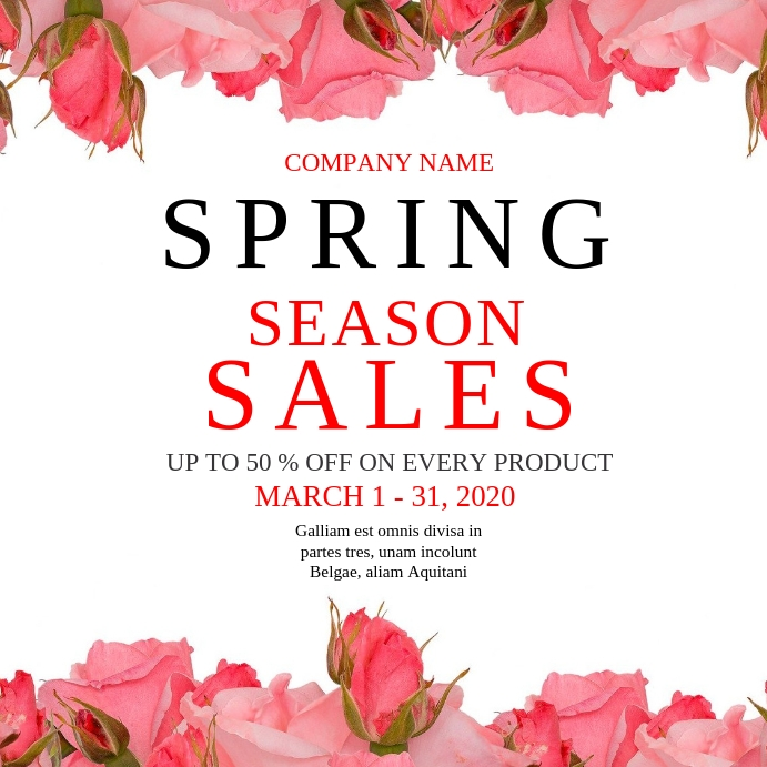 Spring season sales instagram post advertisement template