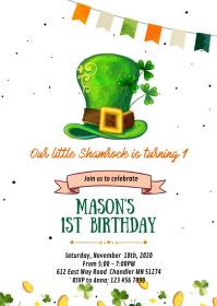 Copy of St Patrick Shamrock birthday invitati