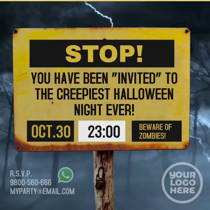 Storm Billboard Sign Halloween Message